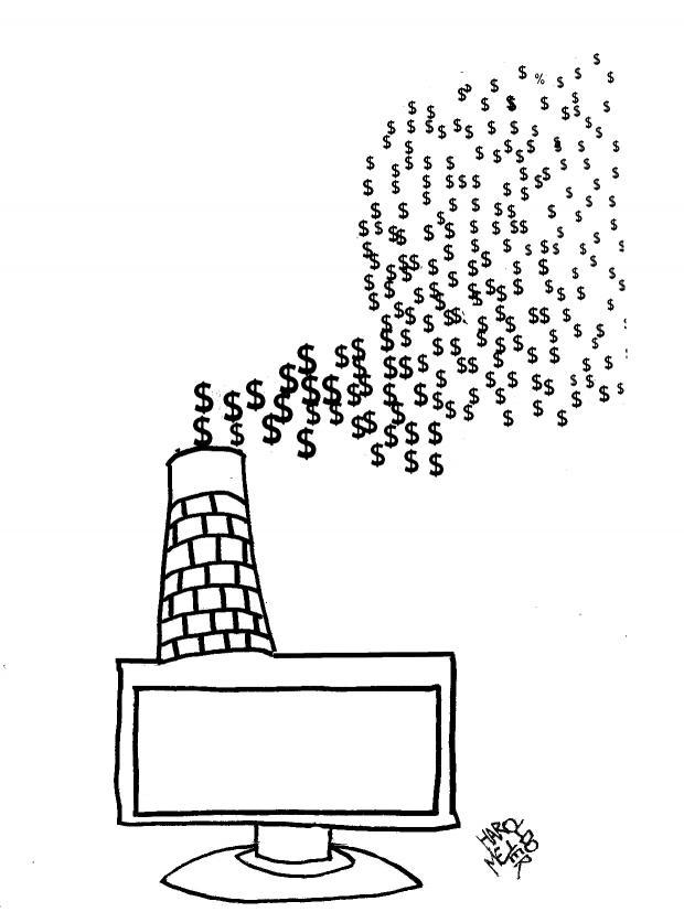 """Viñeta """"Dinero virtual"""", por Haroldo Meyer"""